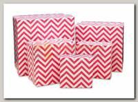 Коробка подарочная Квадрат Розовый зигзаг 8 * 8 * 6 см