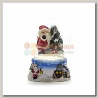 Шар со снегом 'Санта' голубой