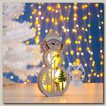Декор 'Снеговик в шапочке' с подсветкой 29*15*2.5 см