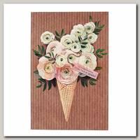 Открытка 'С пожеланием счастья и любви' рожок с цветами 12 * 18 см
