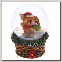 Шар со снегом 'Мишка на на подставке в виде корзинки' 4,8*4,8*6,5 см НГ