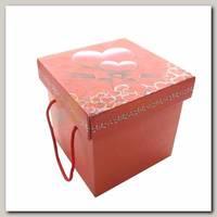 Коробка сборная 'Сердечки' с ручками