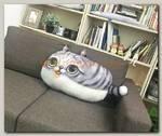 Подушка Кот 3D светло серая