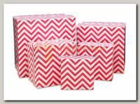Коробка подарочная Квадрат Розовый зигзаг 6 * 6 * 3 см