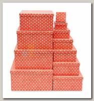 Коробка подарочная Квадрат Горошек на красном 10 * 10 * 5 см