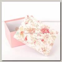 Коробка подарочная Прямоугольник 'Пионы на розом фоне' 24,5 * 19,8 * 13,7