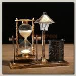 Песочные часы 'Уличный фонарик' с подсветкой и карандашницей коричневые