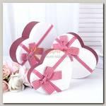 Коробка подарочная 'Сердце' Бордовый/Белый Красный бант 16,2*14,3*6 см