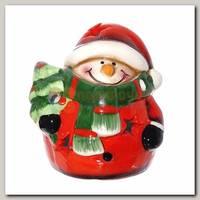 Фигурка декоративная 'Снеговик' с подсветкой красная