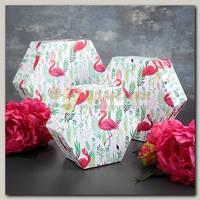 Коробка подарочная 'Шестигранник' Фламинго 16 * 16 * 8 см