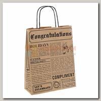 Пакет Газета коричневая / черная ML