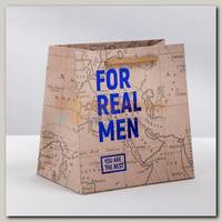 Пакет 'For real man' крафт S 14 * 14 * 9 см