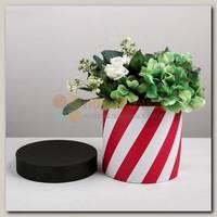 Коробка подарочная Цилиндр 'Полосы красные' 16*16*16 см