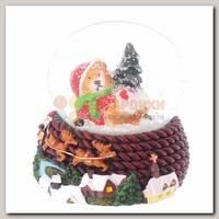 Шар со снегом 'Мишка на красной подставке' 6*5*9 см
