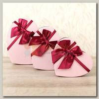 Коробка подарочная 'Сердце' Розовый/Бордовый Красный бант 1 шт