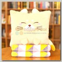Подушка 'Котик' с пледом квадратная
