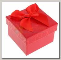 Коробка подарочная под кольцо Сердечки (красная)
