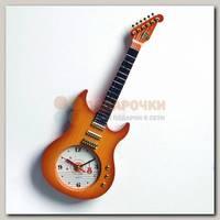 Часы настенные 'Гитара' 11*38 см желтые