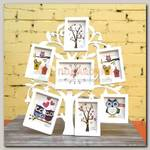 Фоточасы 'Дерево' белые, на 6 фото