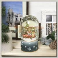 Шар со снегом 'Паровоз и елка' с подсветкой 10 * 10 * 19 см