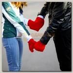 Варежки для влюбленных 'Сердце' (красная)