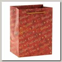 Пакет Новогодние пожелания красный S