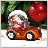 Шар со снегом 'Дед Мороз на автомобиле' 6,5 * 8 см