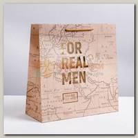 Пакет 'For real man' коричневый L 30 * 30 * 12 см