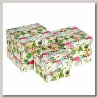Коробка подарочная Квадрат 'Фламинго' 12 * 12 * 11,5 см