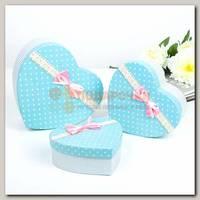 Коробка подарочная 'Сердце' голубое в горошек 21,5 * 20,5 * 9 см