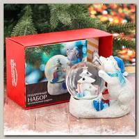 Подарочный набор 'Мишка с севера' снежный шар, свеча